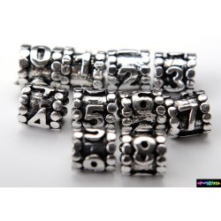 Zylinder Tibet Charms aus Metall - Zahlen - 9*8,9 mm