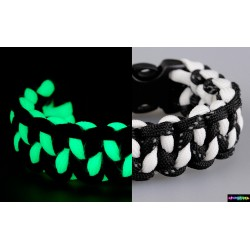 Armband Zigzag Flurozierende weiß-schwarz mit reflektierenden Streifen