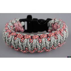 Armband Basic doppelt - Grau Camo- Rotes Himmelblau