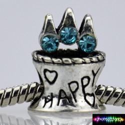 Beads Charms aus Metall - Happy Glücklich -