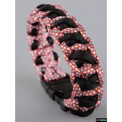 Armband Kreuz - Schwarz-Rotes Himmelblau