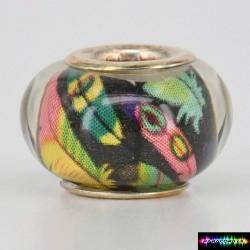 Zylinder Tibet Charms aus Acryl -Pfau-