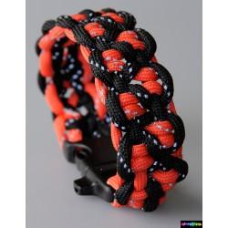 Armband Zabor schwarz und rot mit reflektierenden Streifen