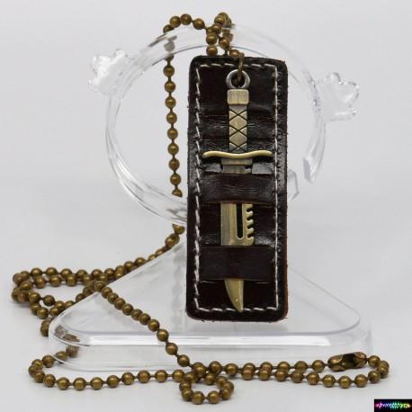Paracord ® Halskette Leder - Anhänger mit Messer