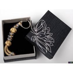 Schlüsselanhänger Gold mit Bersteinfarbe Steine