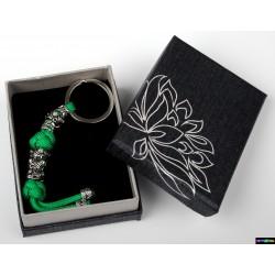 Schlüsselanhänger Grün mit grün Steine Blumen
